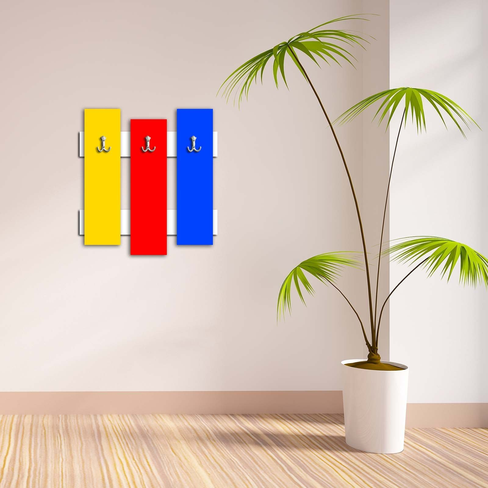 Decorative Wall Hook 3 Pcs Metal Key Holder 100% MDF Mounted Hanging Home Decor, Perfect for Foyers Entryway, Door Coats Hats Towels Scarfs Bags Red Yellow Dark Blue Colorful Pattern Design Basic Plai