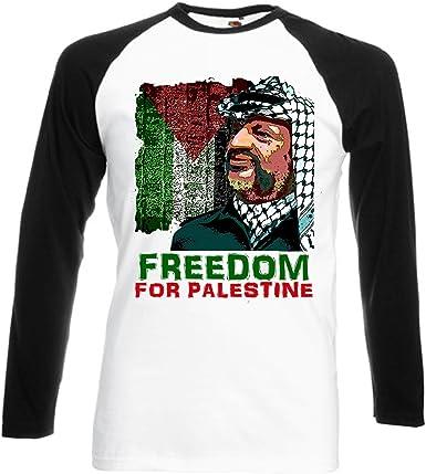 Arafat Yasser Freedom for Palestine – New Graphic Black sleeved béisbol camiseta: Amazon.es: Ropa y accesorios