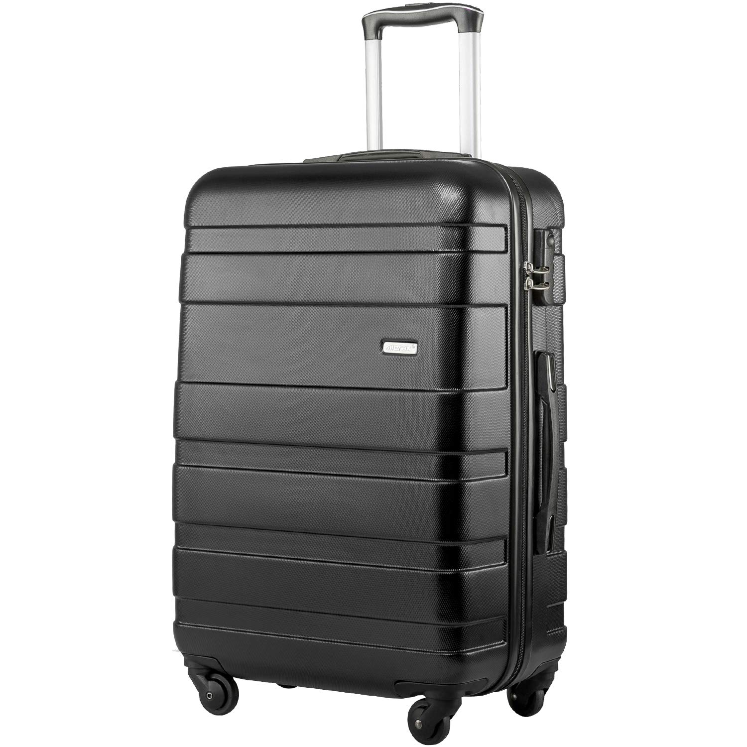 Merax Hard Shell Luggage Carry On Cabin Hardside Spinner Luggage Suitcase with 4 Wheels (Black)