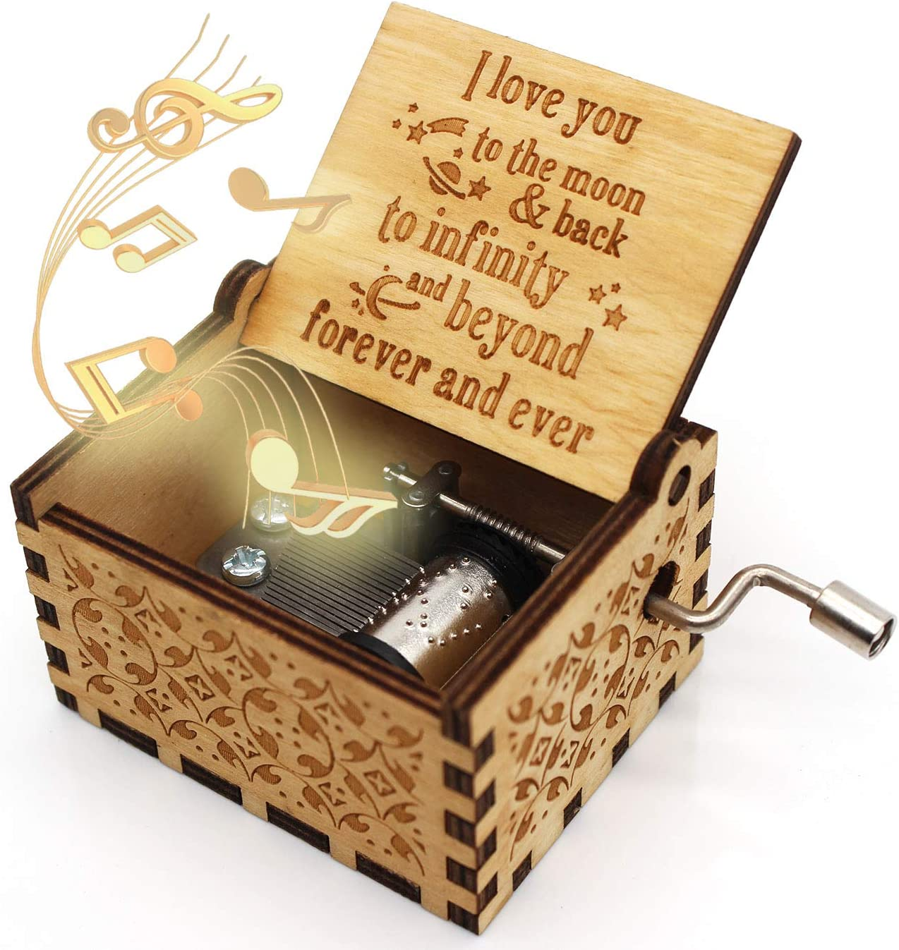 ukebobo Wooden Music Box – I Love You to The Moon and Back Music Box, Gifts for Daughter, Gifts for Son, Gifts for Love Ones - 1 Set