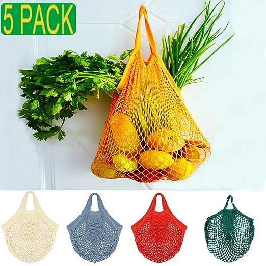 KESOVI Bolsas Reutilizables compra malla, 5 PCS bolsas reutilizables fruta para Almacenamiento Fruta Verduras Juguetes Lavable(5 Colores Algodón ...