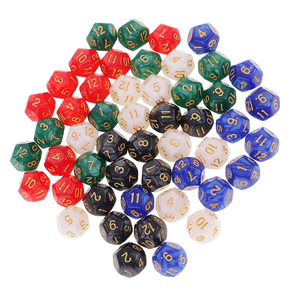 MagiDeal 50 Pieces D12 Dice 16mm 12 Sided Die Set with Dice Bag for D&D Role Playing Games