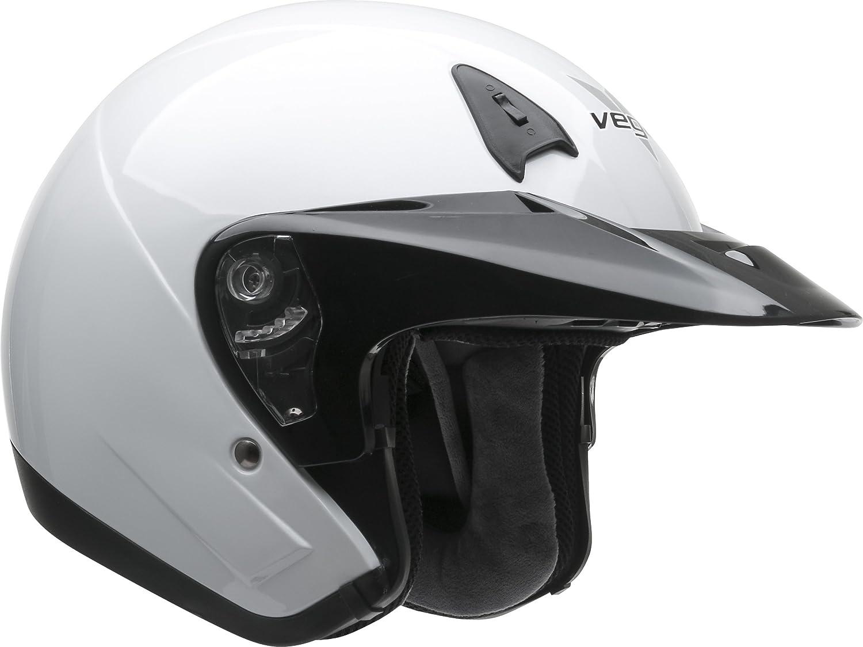 Vega Helmets VTS1 Open Face Motorcycle Helmet with Inner Sunshield DOT Certified Full Face Shield /& Visor Motorbike Helmet for Cruisers Street Bike Scooter Touring Moped Moto Matte Black, Large
