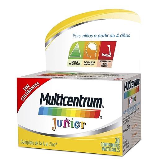 Multicentrum Junior Complemento Alimenticio con 12 Vitaminas y 4 Minerales, Con Vitamina B1, Vitamina B6, Vitamina B12, Hierro, Vitamina C, 30 ...
