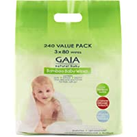 GAIA Skin Naturals Bamboo Baby Wipes, 240 Piece