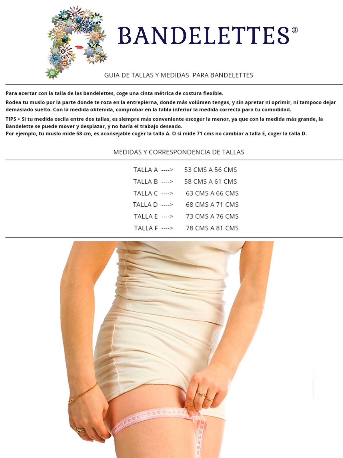 Bandelettes Elastic Anti-Chafing Thigh Bands - Prevent Thigh Chafing - Beige Onyx, Size C