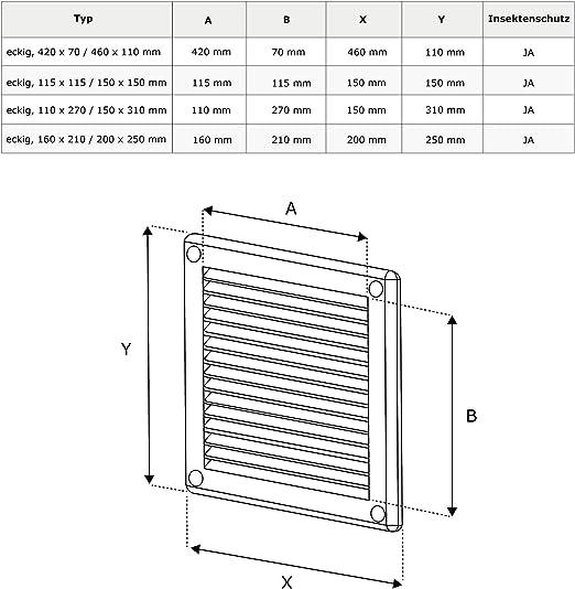 wei/ß /Ø 60//80 mm AWENTA L/üftungsgitter ABS-Kunststoff rund