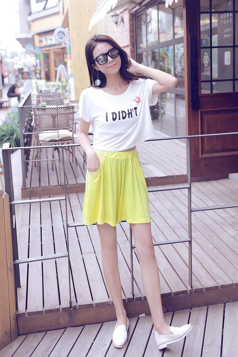 Women's Easy Shorts Elastic Waist Culottes Comfortable Relax Wear (Grey) Culottes Elastic Waist Shorts Flare Shorts Knee Length Loose Fit Shorts Mini Skirt Sheer Spats by PT&Key (Image #6)