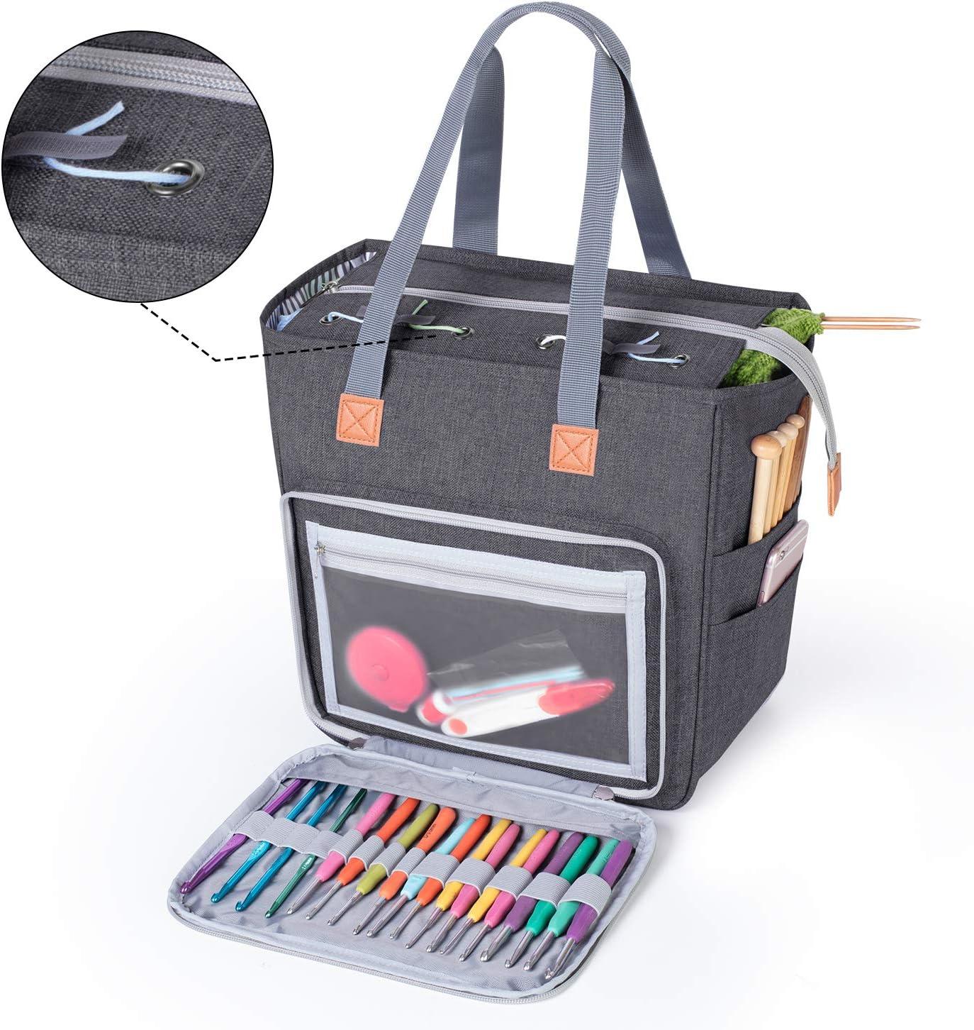 Luxja Stricktasche Aufbewahrung Garn Tasche f/ür Wolle und Stricken Zubeh/ör
