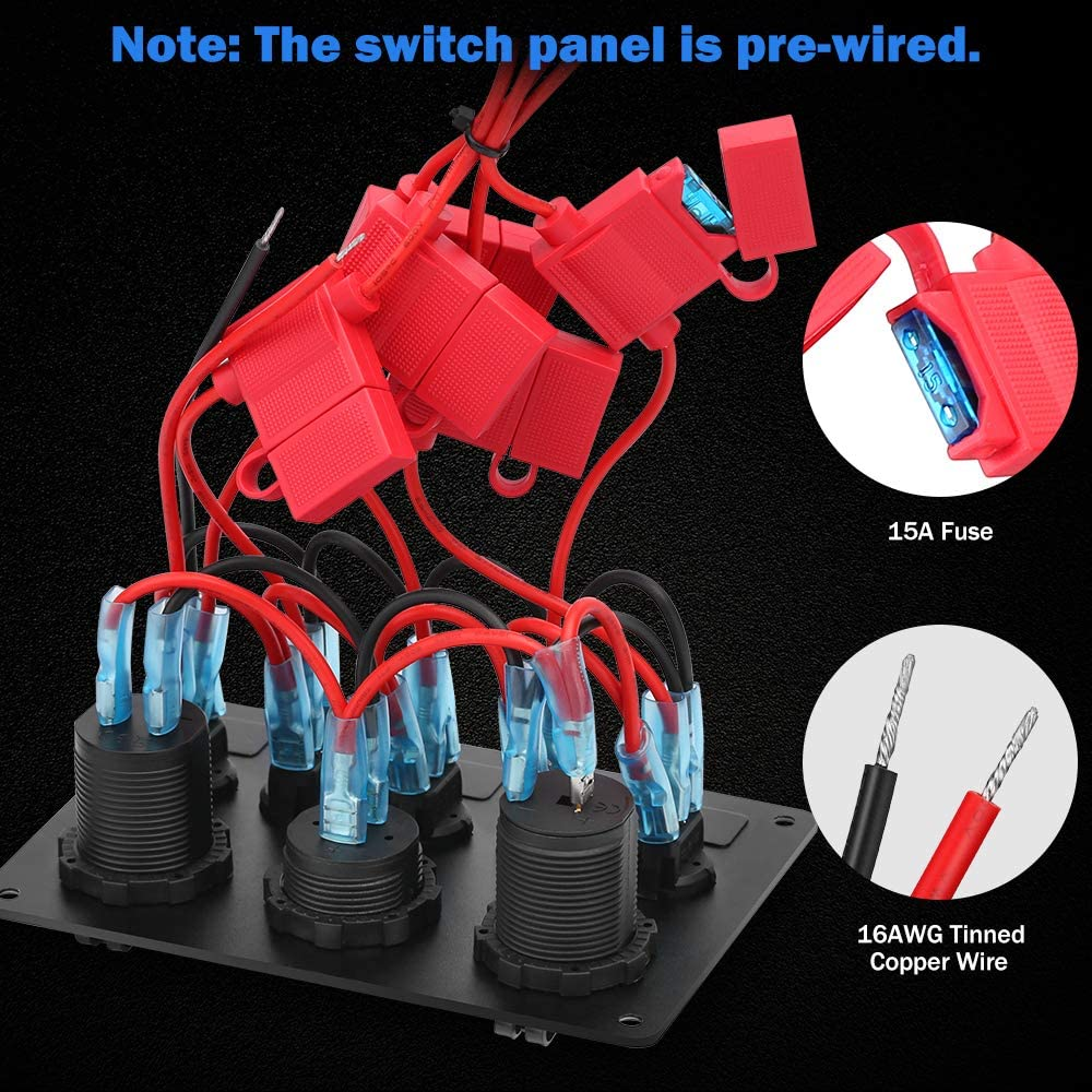 Electop 5 Gang Rocker Switch Panel, Toggle Switches/4.2A Dual USB Socket Charger/LED Voltmeter/12V Power Outlet Aluminum Panel Mount with 15A Fuses Pre-wired Waterproof for Car Boat Truck Marine RV: Automotive