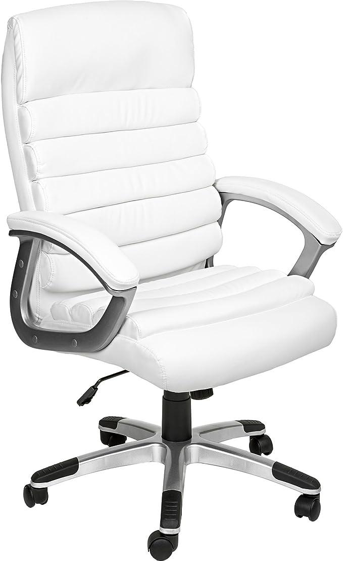 TecTake Chaise de Bureau Fauteuil de Direction Hauteur réglable | Design ondulé | diverses Couleurs au Choix (Blanc | no. 402151)