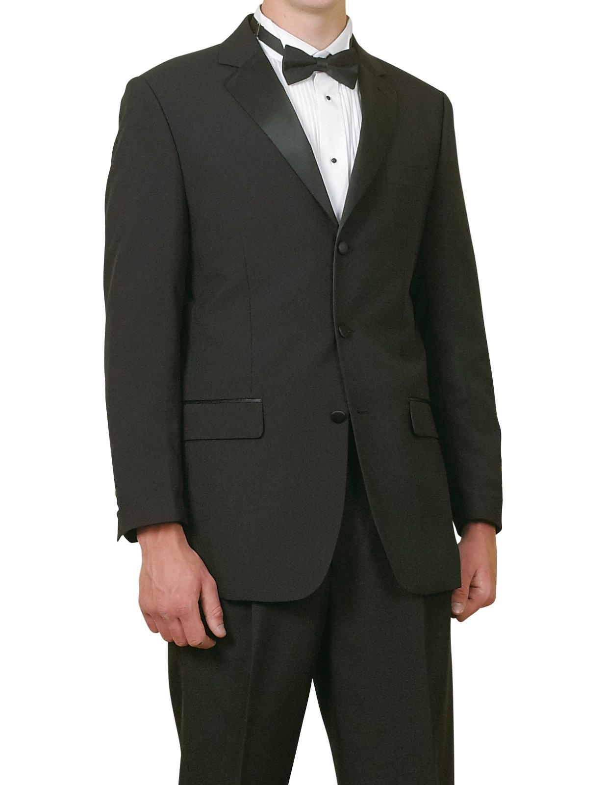 New Mens 5 Piece (5pc) Complete Single Breasted Black Tuxedo Suit