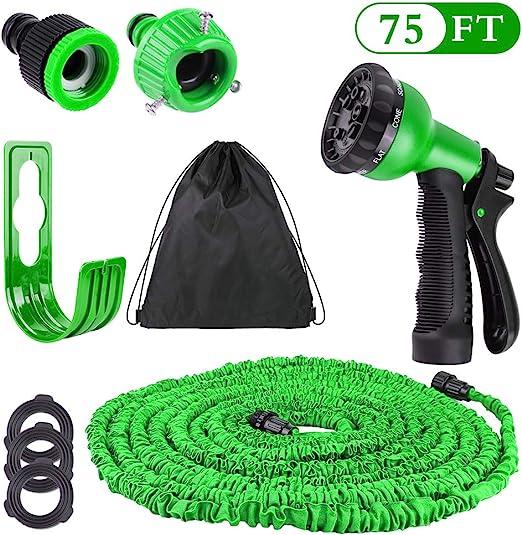 Hospaop Manguera de Jardín Extensible - 75FT, Mangueras de Jardín Flexible con 3 Capas de Núcleo de Látex Natural con 8 Boca de Spray Modos para Rociar el Césped, Limpiar Autos: Amazon.es: Jardín