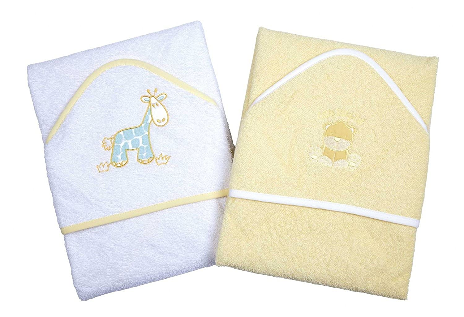 A Set of Two Luxury Hooded Baby Bath Towels 100/% Cotton In Pink or Blue with Cute Animal Appliques