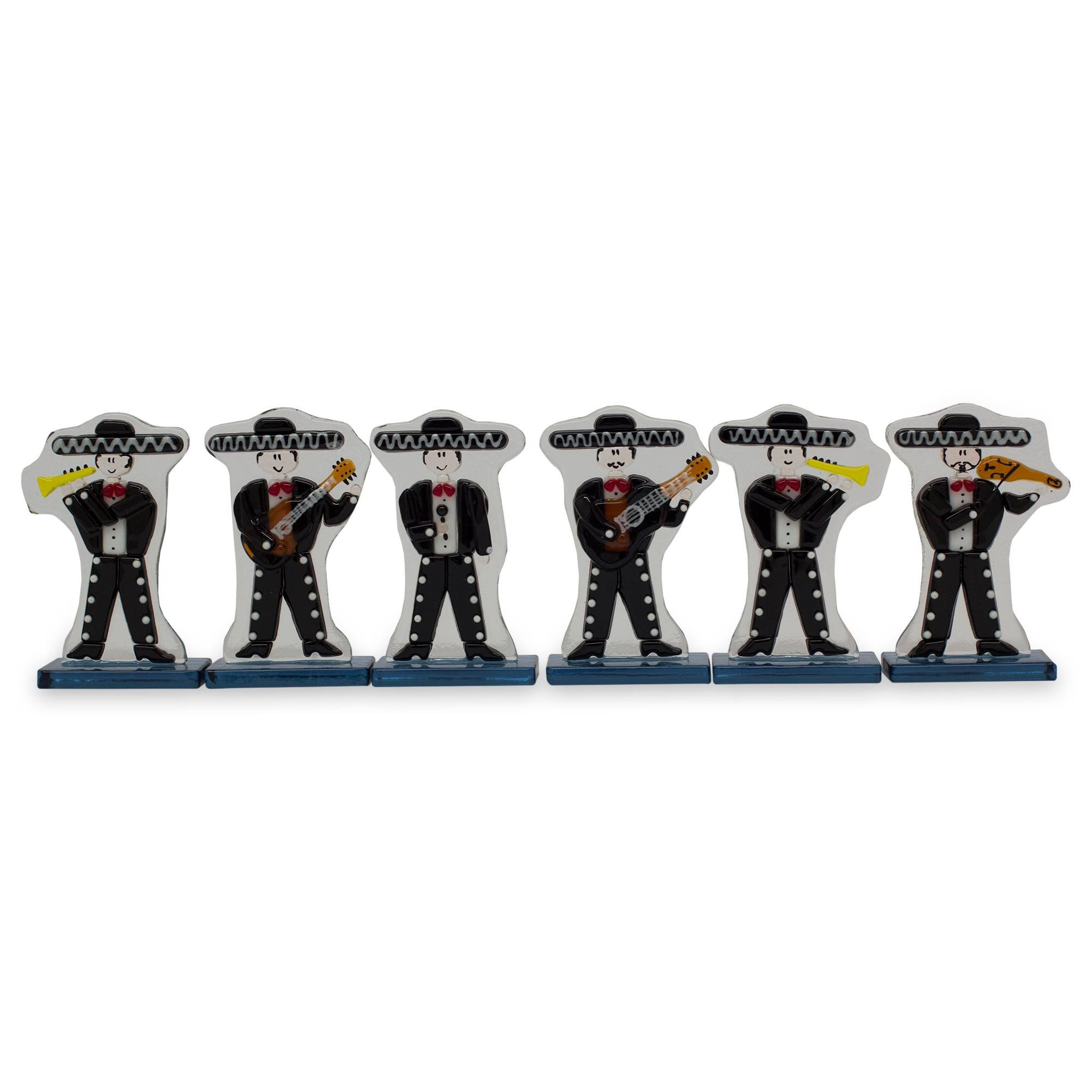 NOVICA Black Dance and Music Glass Sculpture, 3.3'' Tall, Handsome Mariachi' (Set of 6)
