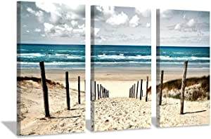 """Beach Picture Coastal Wall Art: Sand Dune Canvas Art Seascape Prints for for Living Room Bedroom (16""""x26""""x3pcs)"""