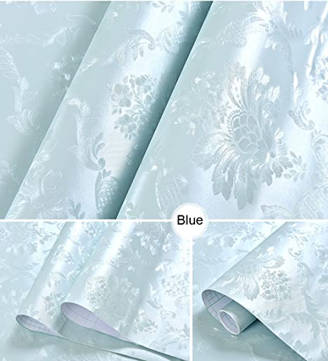 Modern Blue Damask Contact Paper Self Adhesive Vinyl Shelf Drawer Liner Removable Peel And Stick Wallpaper