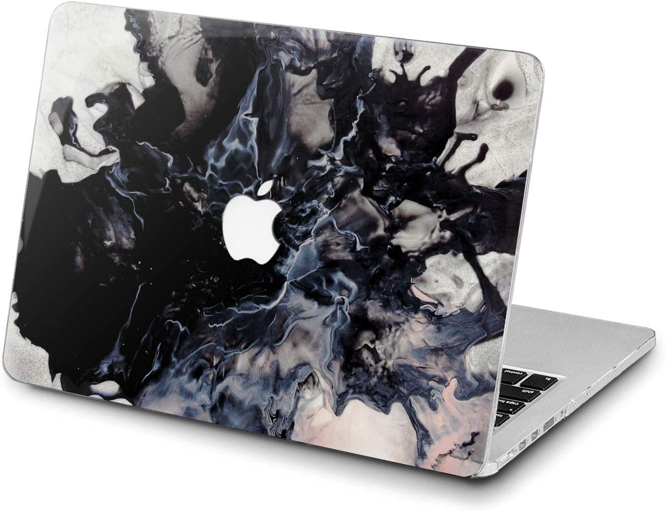 Lex Altern Hard Case for Apple MacBook Pro 15 Air 13 inch Mac Retina 12 11 2020 2019 2018 2017 2016 Marble Laptop Paint Touch Bar Black Watercolor Design Abstract Ink Smoke Women Plastic Shell