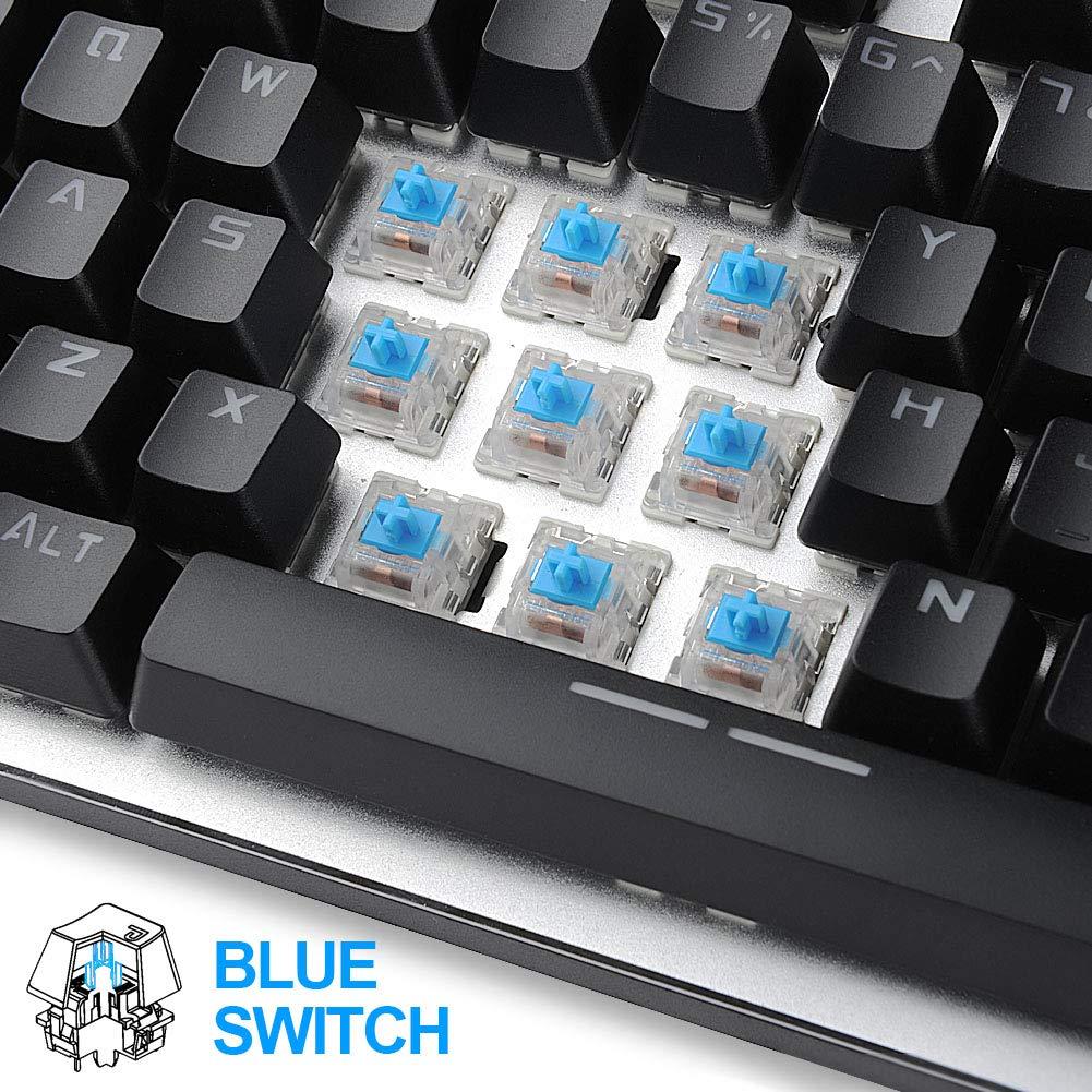 Hcman Teclado mecánico US Layout Mechanical Keyboard Blue Switches,Teclado para Juegos 21 LED Backlit: Amazon.es: Electrónica