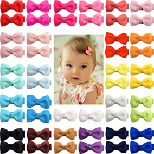 """50 Pieces 25 Colors in Pairs Baby Girls Fully Lined Hair Pins Tiny 2"""" Hair Bows Alligator Clips for Girls Infants Toddlers"""