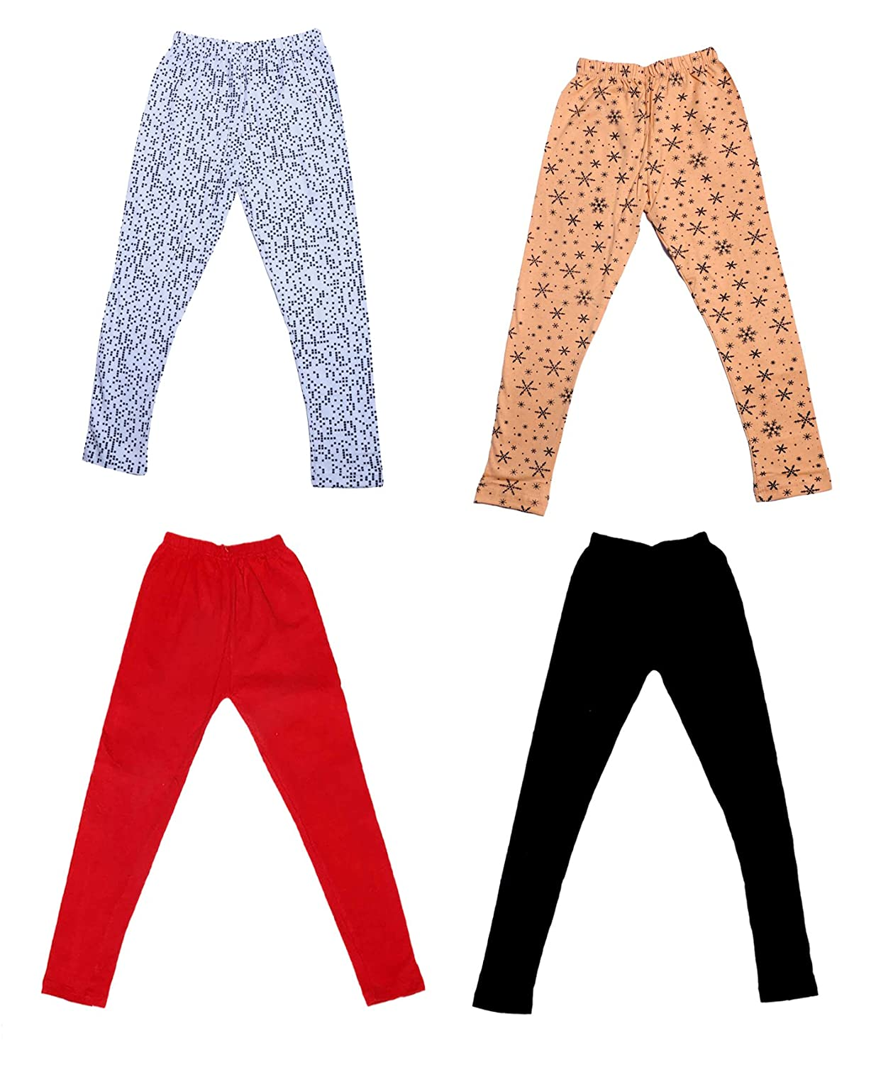 Pack Of 4 /_Multicolor/_Size-4-5 Years/_71404051921-IW-P4-26 and 2 Cotton Printed Legging Pants Indistar Girls 2 Cotton Solid Legging Pants