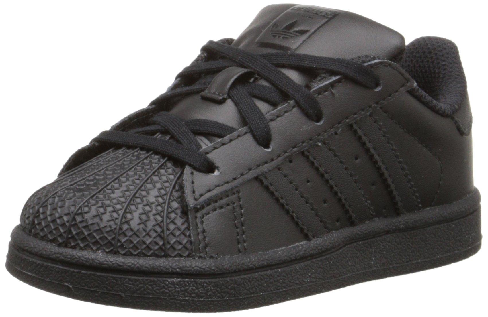 adidas Originals Superstar I Basketball Fashion Sneaker (Infant/Toddler),Black/Black/Black,10 M US Toddler