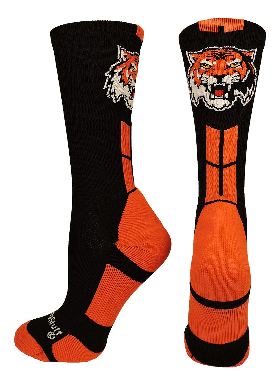 MadSportsStuff Tigers Logo Athletic Crew Socks (Black/Orange, Medium)
