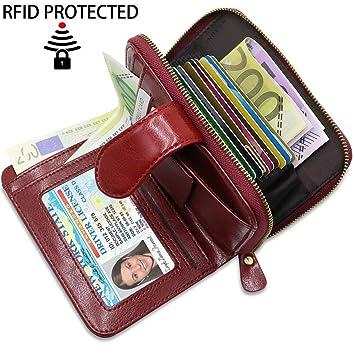 559bd5f41e662 Damen Geldbeutel Leder RFID Schutz BTNEEU Geldbörse Damen Viele Fächer mit  Reißverschluss