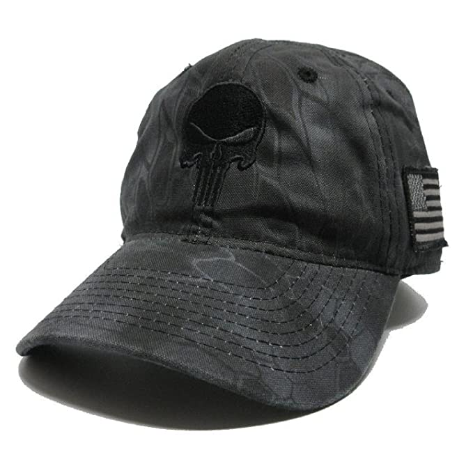 Amazon.com  Military imagine Kryptek Punisher Skull Hat Black w US ... 8813b9d681b