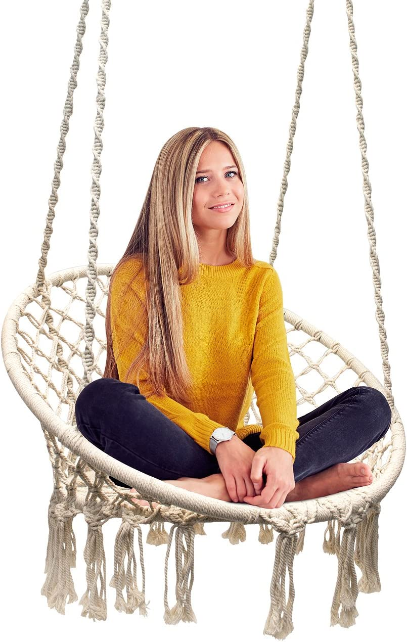 Sorbus Hammock Chair Macrame Swing, 265 Pound Capacity, Perfect for Indoor Outdoor Home, Patio, Deck, Yard, Garden