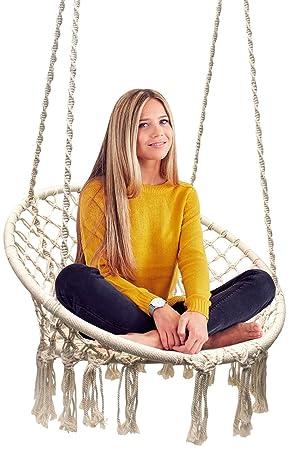 Sorbus Hammock Chair Macrame Swing, 265 Pound Capacity, Perfect for Indoor Outdoor Home, Patio, Deck, Yard, Garden Macrame Swing – Cream