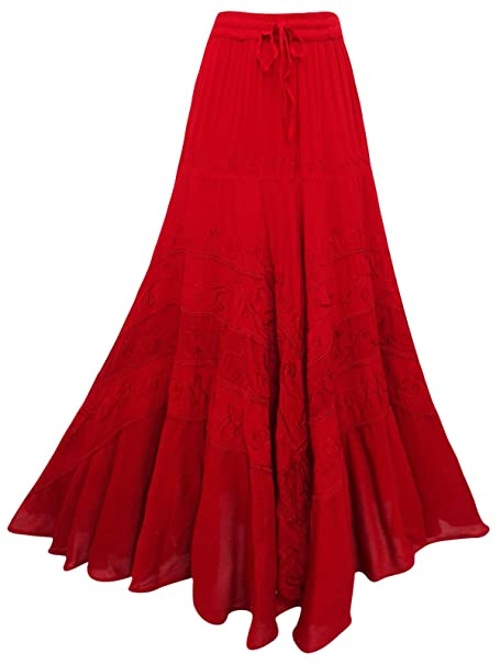 e64d9a205 Long red Embroidered Princess Skirt 10 12 14 16 18 20 22 24 26 28 30 32 34  Hippy Belly Dancing A-LINE Plus Size Pagan Wicca S M L XL 2XL