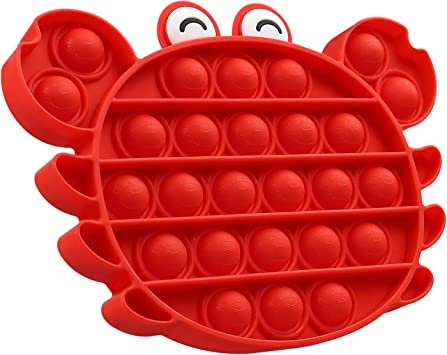 Silicone Anxiety Stress Reliever Toys,Squeeze Sensory Toy,Special Needs Stress Reliever Silicone Stress Reliever Toy for Kids Adults BPA Free Push Bubble Sensory Fidget Toy Lobster red