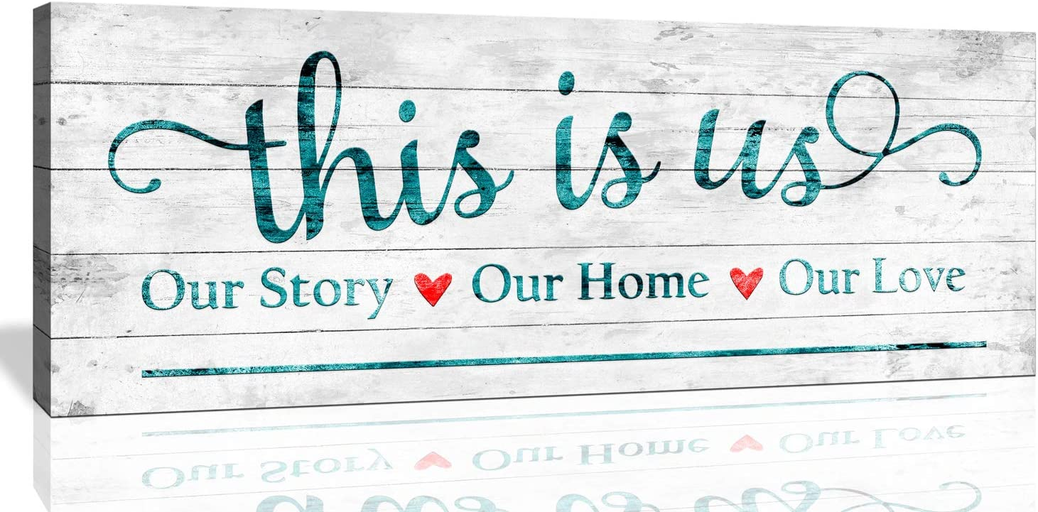 JUFENGART Inspirational Wall Art This is Us Our Story Our Home Our Love Family Concept Rules Logo Sign Motivational Quotes Wall Decor (Love Family, 6 X 17 inch)