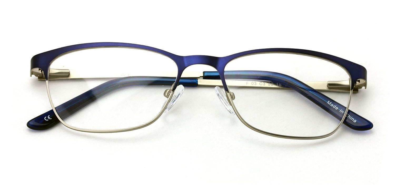 e4484a482e5 Amazon.com  Women Fashion Stainless Steel Non-prescription Glasses Frame  Clear Lens Metal Eyeglasses - Rectangular Half (Black)  Clothing