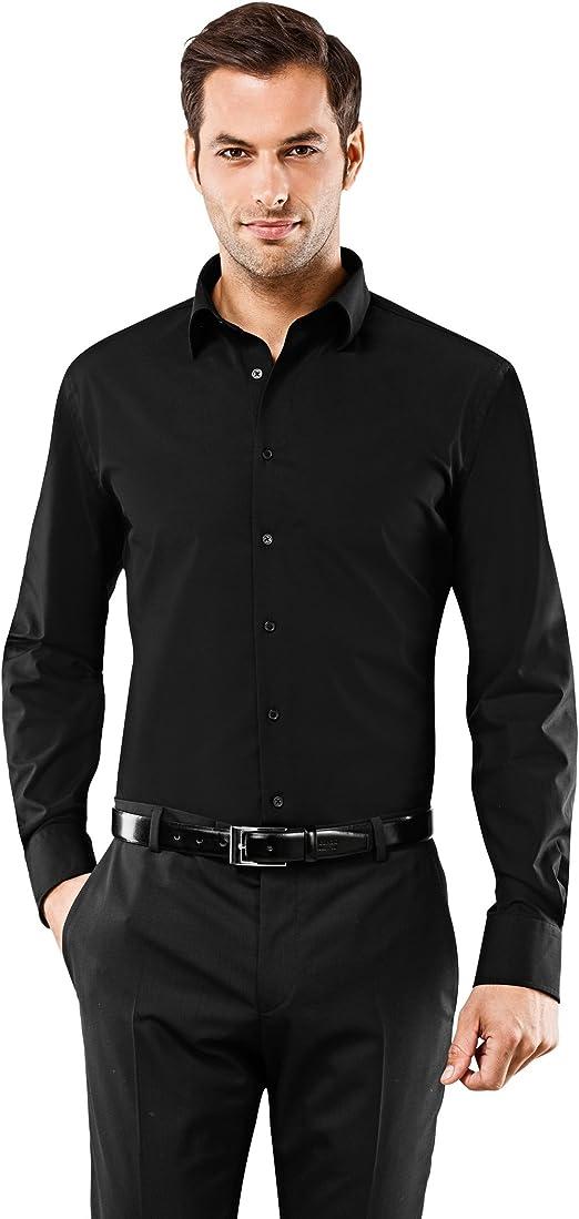 Vincenzo Boretti Camisa Hombre Negro 39/40 cm (15.5/15.75 ...