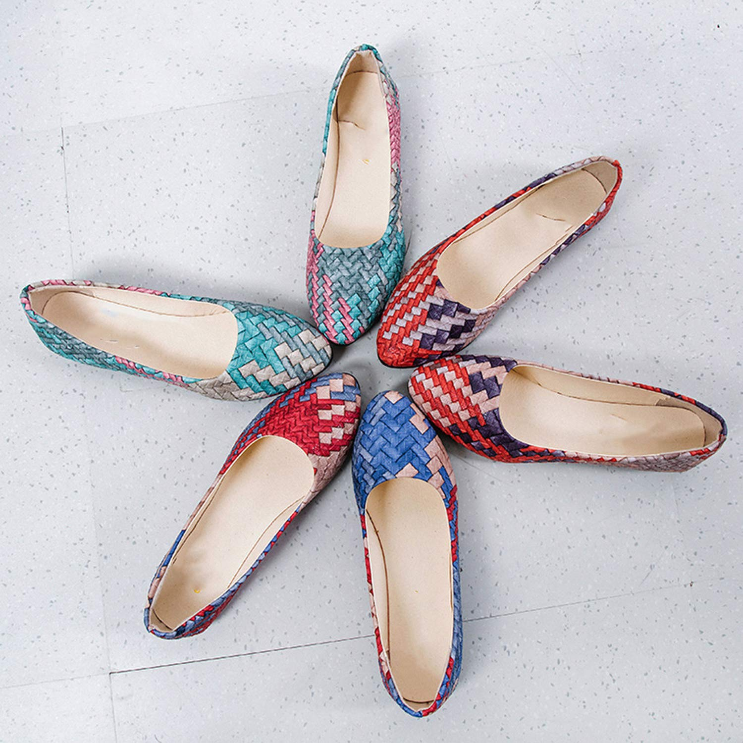 Alfalfa Plant Women Mixed Colors Casual Shoes Female Pretty Comfortable Slip on Flat Shoes Ballerina Shoes,A,36,