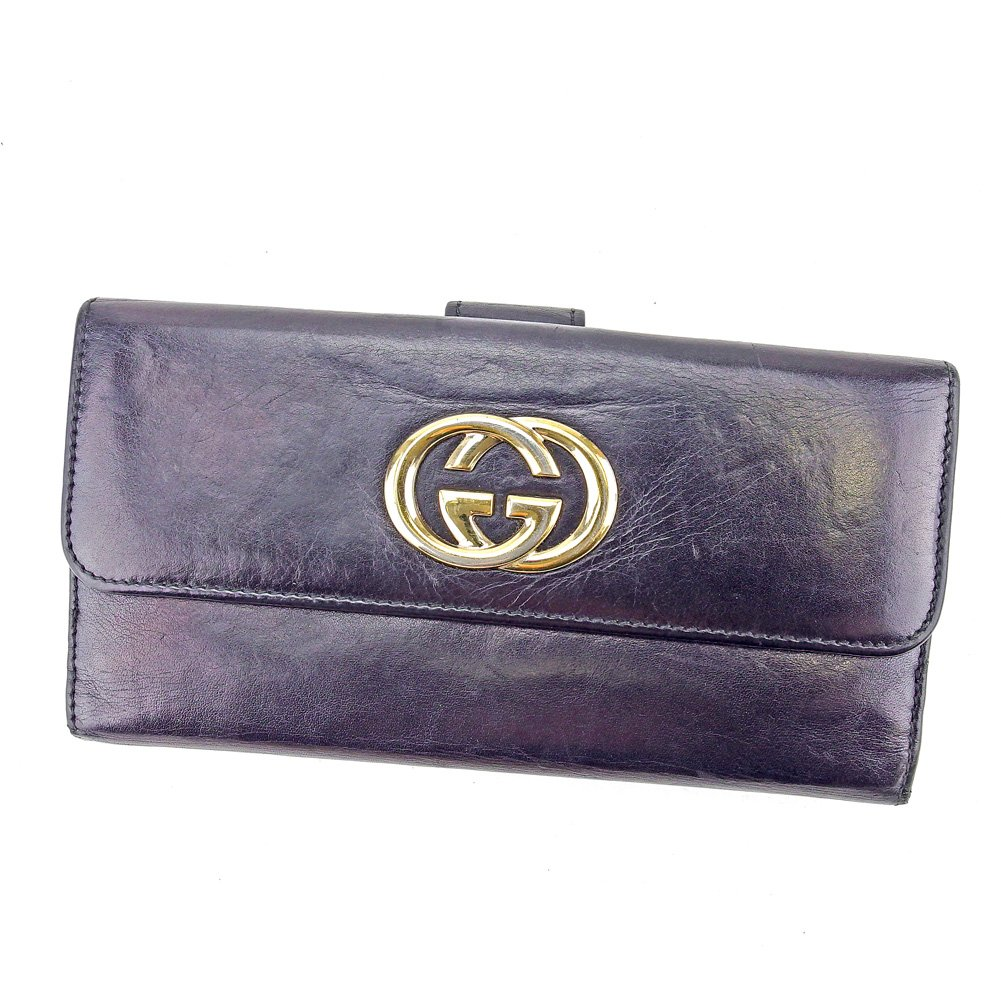 (グッチ) Gucci 長財布 財布 Wホック ブラック×ゴールド インターロッキングG ダブルG レディース メンズ 可 中古 T4151   B0789LXVGF