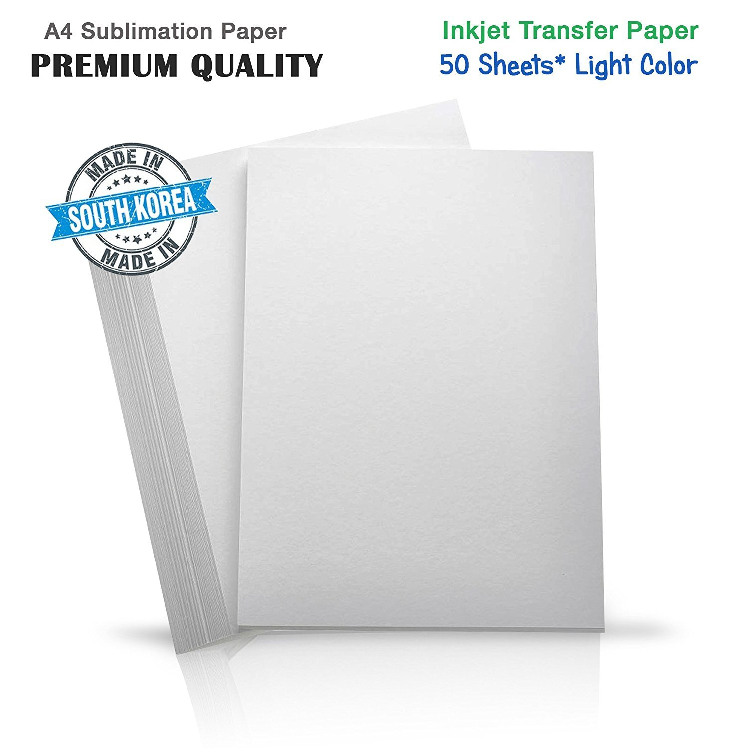 INKUTEN Premium Inkjet Heat Transfer Paper for (Light Colored Fabrics) Epson, Ricoh, SawGrass Printers (50 Sheets) A4