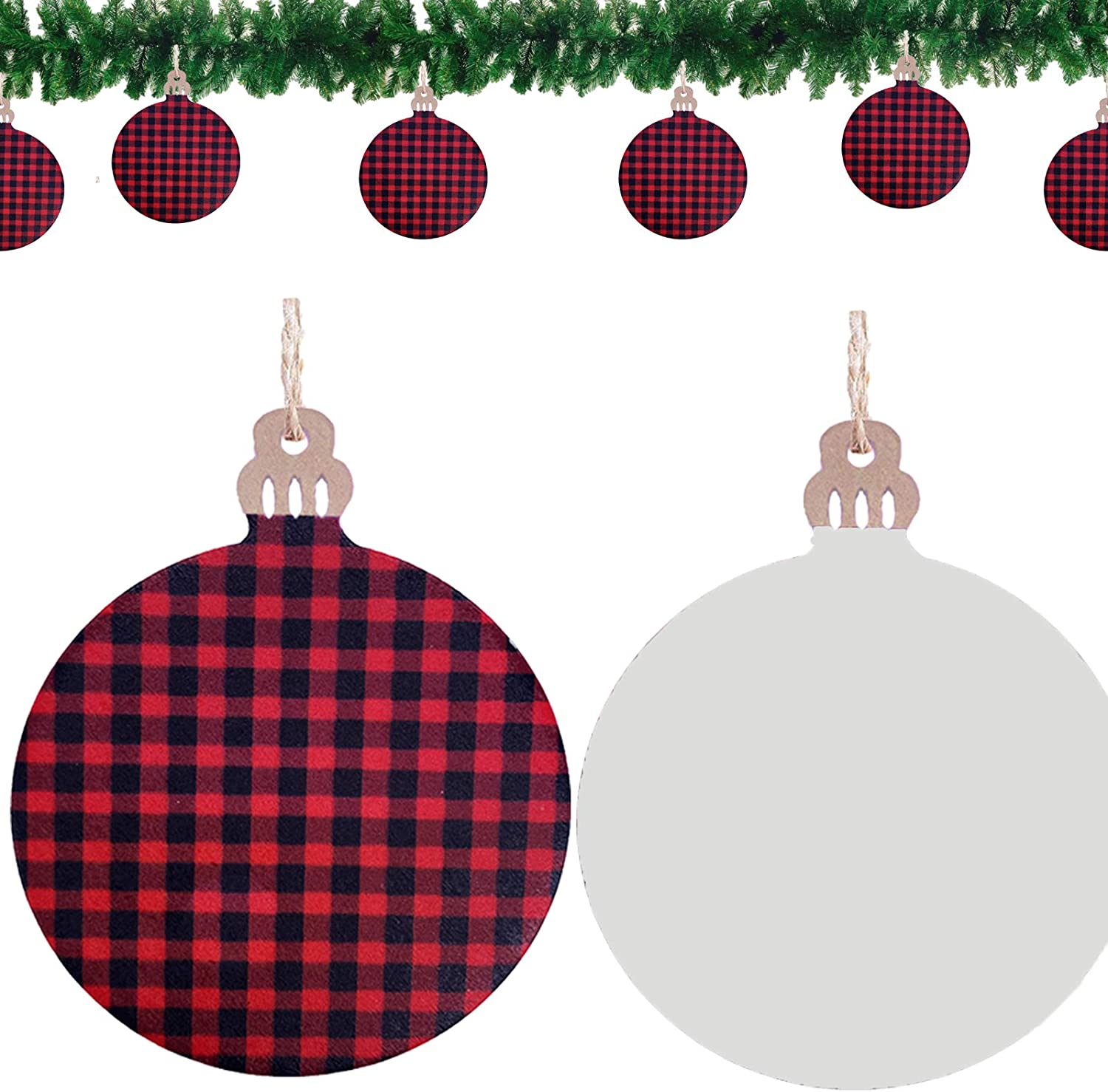 48 Pieces Buffalo Plaid Predrilled Wood Slices 48 Pieces Twine Round Wooden Discs with Holes for Holiday Hanging Embellishments,Christmas DIY Crafts 96 Pieces Christmas Wood Slice Twine Ornament Set