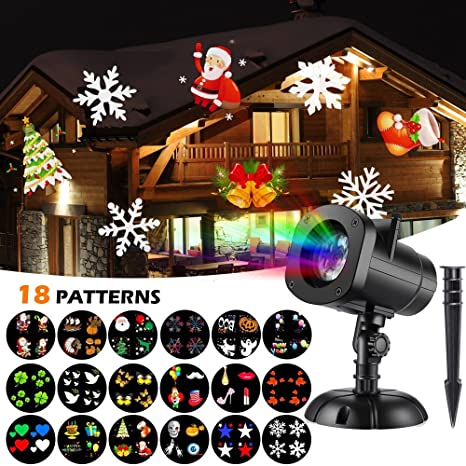 christmas lights projector 18 moving slide shows snowflake star holiday shower projector outdoor party slide show - Moving Christmas Decorations