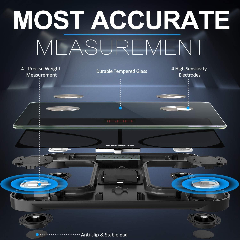 Massa Grassa BMI Nero Misura Peso Corporeo Proteine Massa Muscolare Massa Ossea RENPHO Bilancia Pesapersone Intelligente Bluetooth Bilancia Pesa Persona Digitale con App