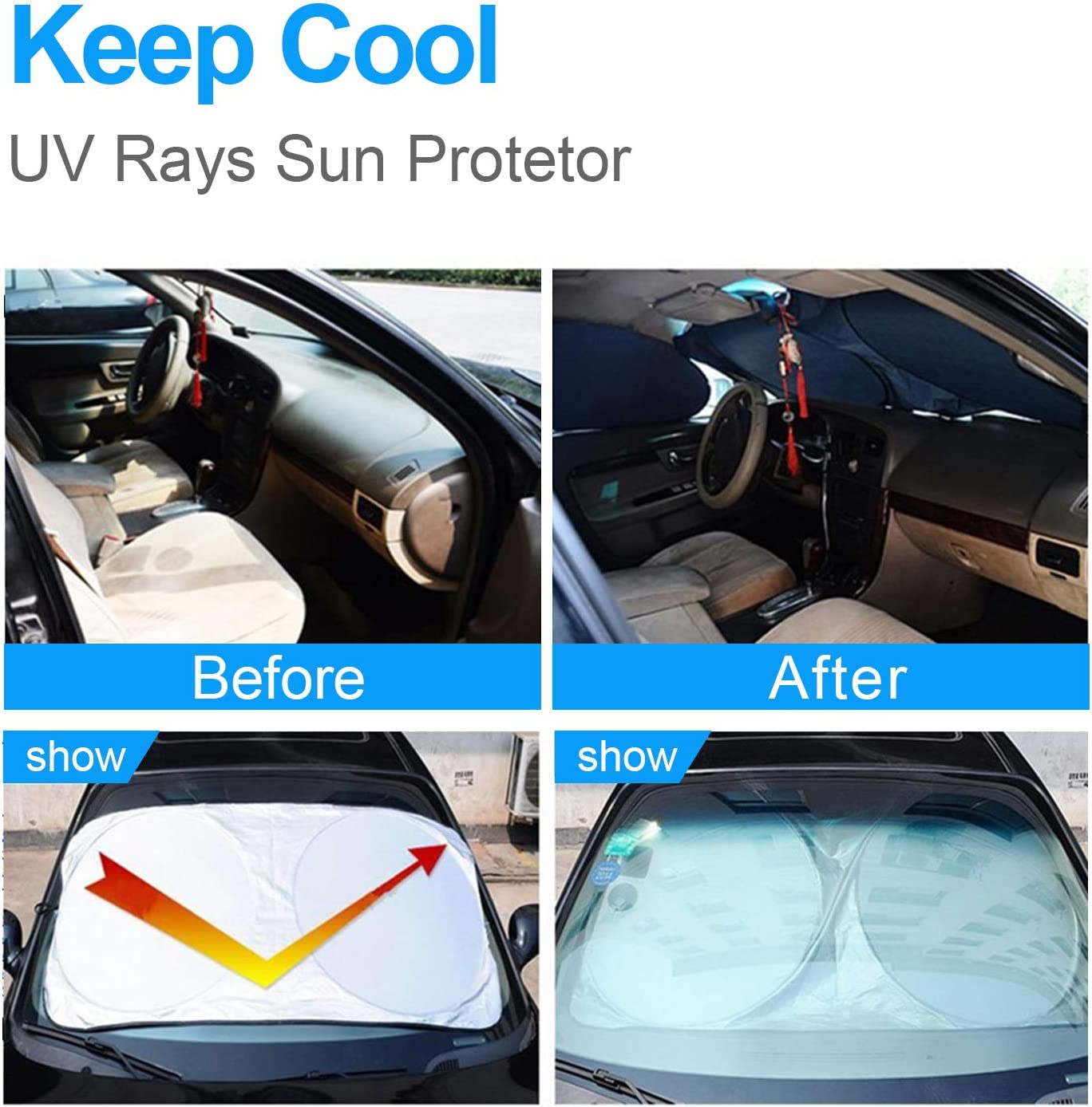 OKEECA Car Windshield Sun Shade,Blocks UV Rays Sun Visor Protector,Sunshade to Keep Your Vehicle Cool and Damage Free Easy to Use Fits Windshields of Various Sizes 63inx35in //160cmx89cm