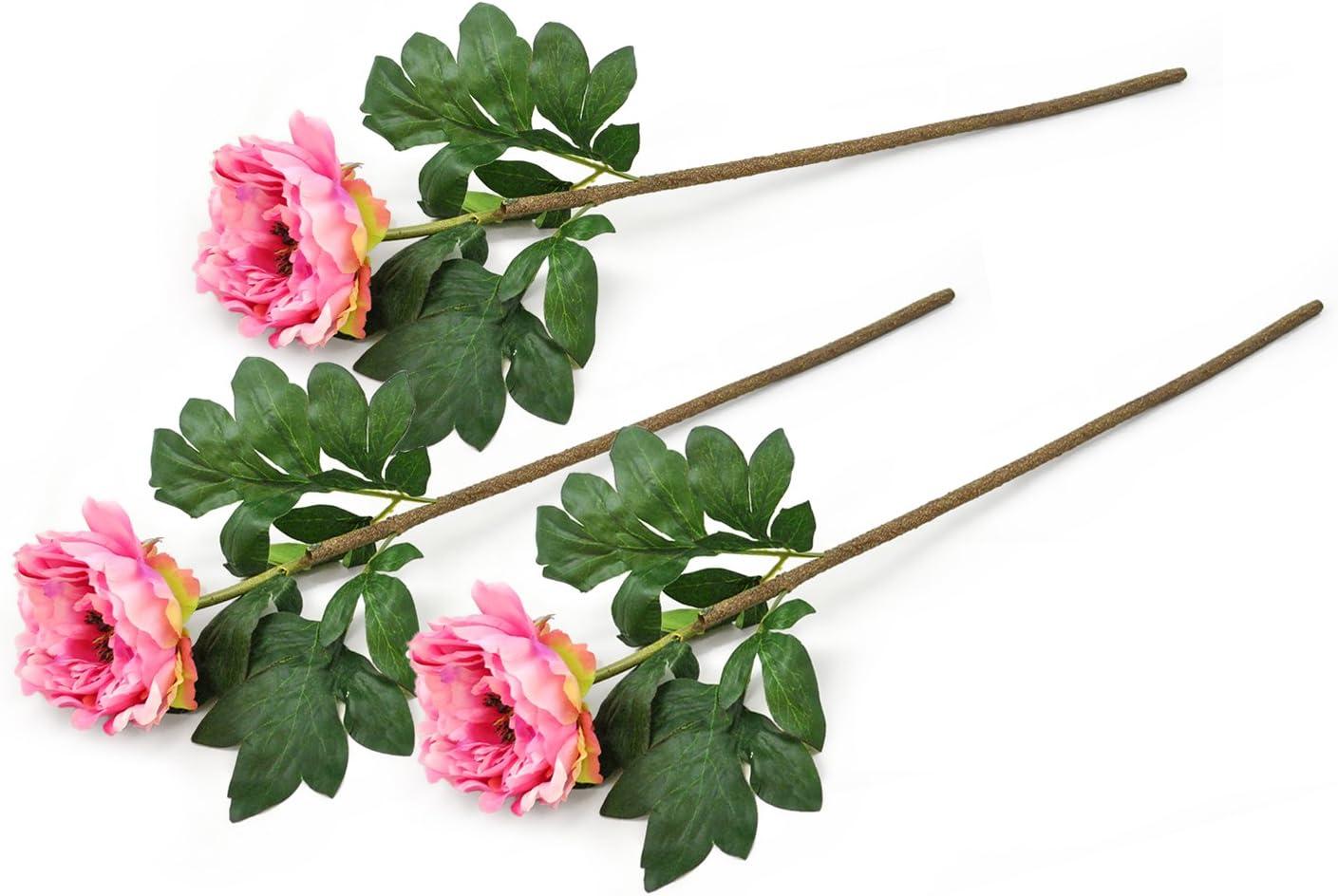 DII 3 Piece Artifical Peony Silk Flowers For Bridal Bouquet, Home Decoration, DIY, Garden, Office Decor, Centerpiece Décor - Light Pink