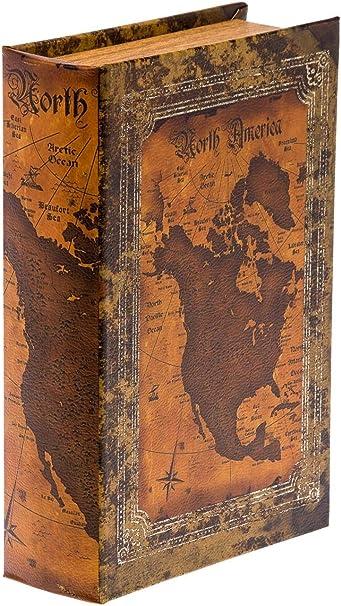 aubaho Caja de estanteriao en Forma de Libro XL mapas joyería de américa XL: Amazon.es: Hogar