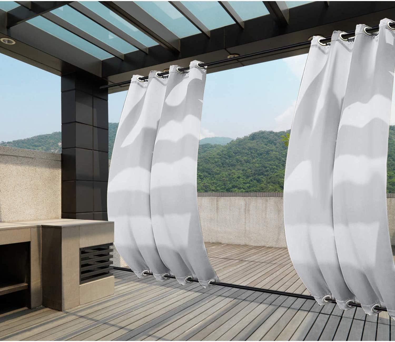 132x245cm Blanco Gris Cortinas para Exteriores con Ojales, Resistentes al Viento, Resistentes al Agua, Resistentes a la harina, para jardín, balcón, casa de Playa, vestíbulo, Cabana: Amazon.es: Jardín