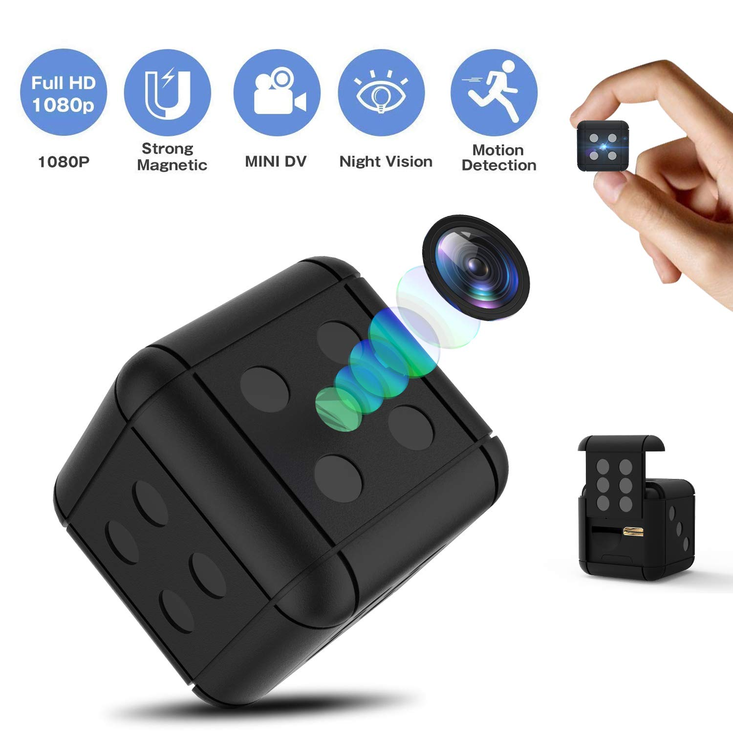 Hidden Camera Spy Camera Mini camera, HD 1080P Small Camera Dice Shape Night Vision Camera Not Gray Restore Live Color, Indoor Outdoor Video Recorder Nanny Cam with Motion Detection Magnet Adsorption