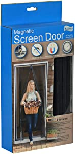 """Fenestrelle Magnetic Screen Door - Fits Doors Up to 34""""W x 80""""H - Black Trim - Super Tight Self Closing Magnetic Seal - Heavy Duty Flame Resistant Fiberglass Mesh - Includes Full Frame Mounting Tape"""