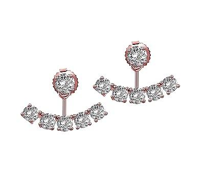 c7410266014 Elensan Sterling Silver Ear Jackets Crystal Ear Cuff Earrings Set for Woman