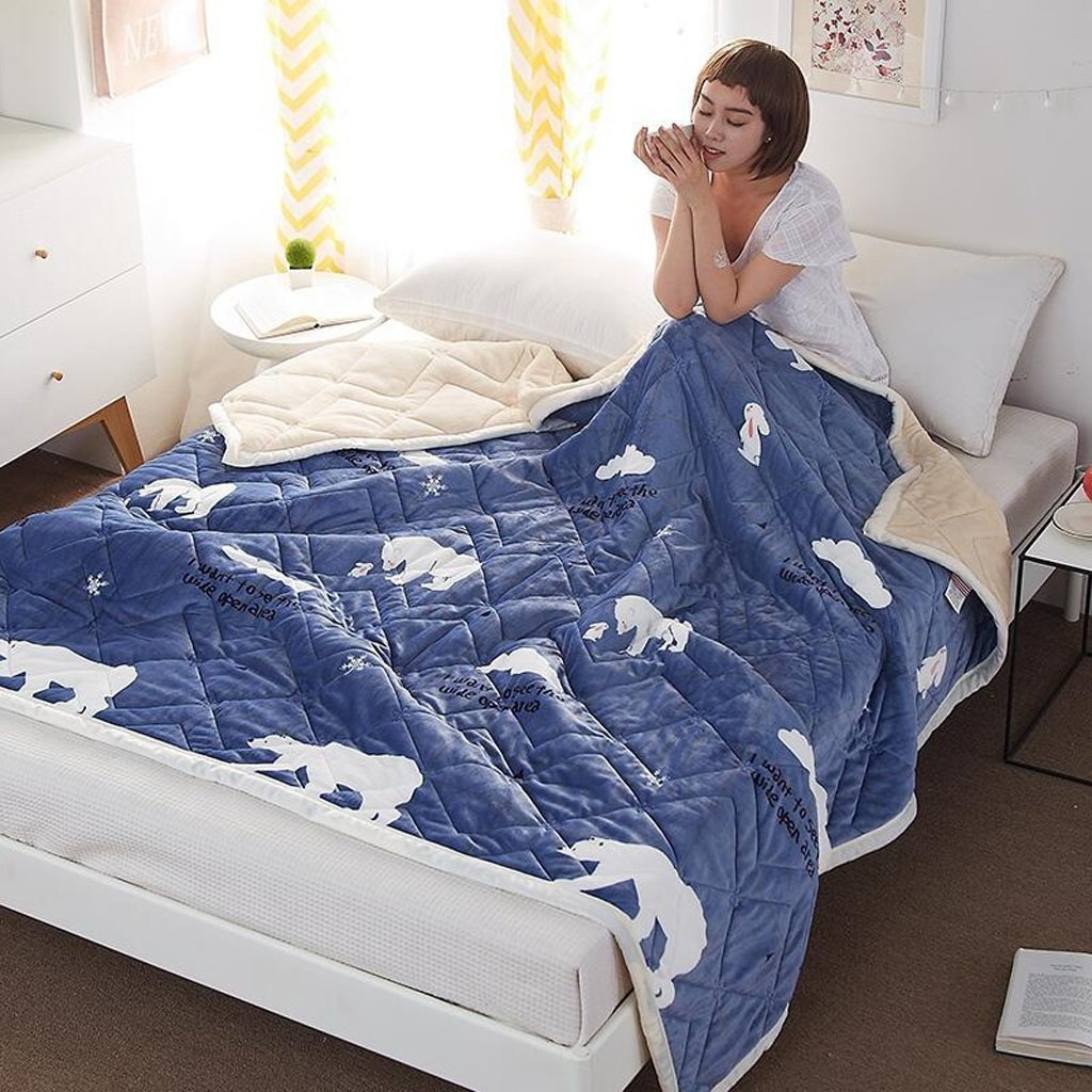 YAOHAOHAO Blue animal of the invisible image that heel of hot-rolled the winter dorm towel quilt flannel (Size: 150200 cm)